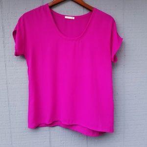Soprano XS Solid Lightweight Short Sleeve Top Pink